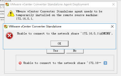 VMware P2V:Unable to connect to the network share \ADMIN$