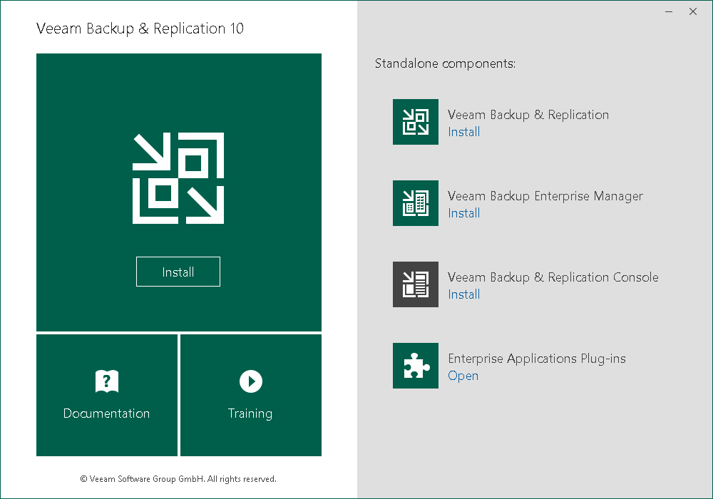 Veeam Backup & Replication 10 测试#1 (安装)