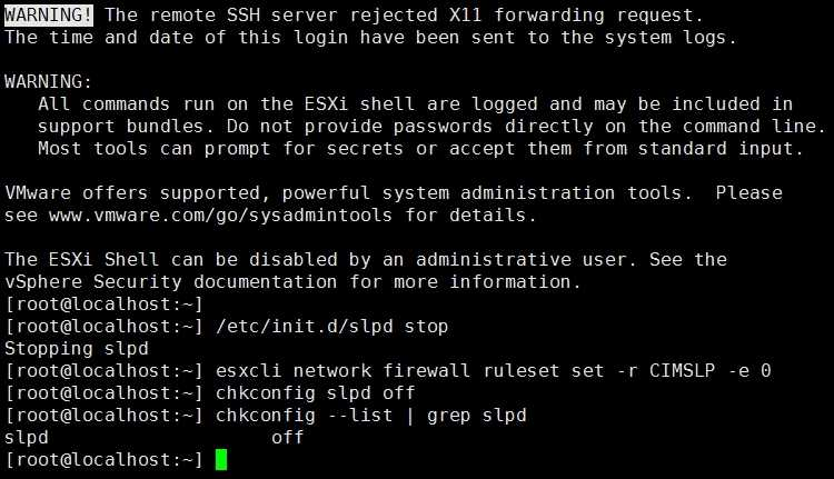 VMware ESXi OpenSLP远程执行代码漏洞(CVE-2020-3992)不升级系统的临时解决